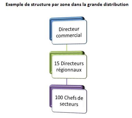 Exemple d'organisation de la force de vente par zone